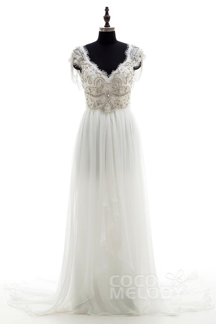 Fantastic Sheath-Column V-neck Natural Chapel Train Chiffon Ivory Sleeveless Open Back Wedding Dress Beading Draped LD3734