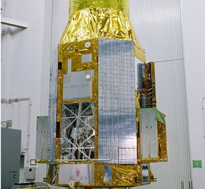 The ASTRO-H or Hitomi satellite, indoors, before launch - it is now considered to be lost in space, and attempts are being made to recover it.