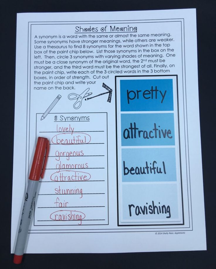 Enhancing Vocabulary | Shades of Meaning: Start with an okay word and use a thesaurus to identify 8 synonyms. Have students circle 3 of the synonyms in varying degrees of strength. Fill up the remaining paint-swatch boxes with the varied synonyms, building up.