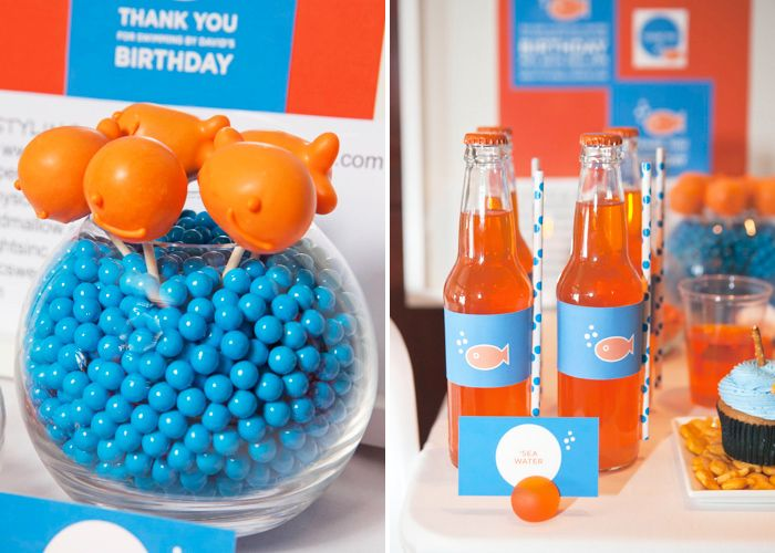 goldfish themed party ideas. great for baby shower or birthday party (what toddler doesn't love goldfish?)
