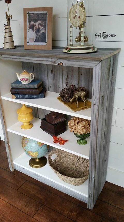 Do not donate or give away that old IKEA Billy bookcase. Update it with paint and reclaimed wood for a great new look.