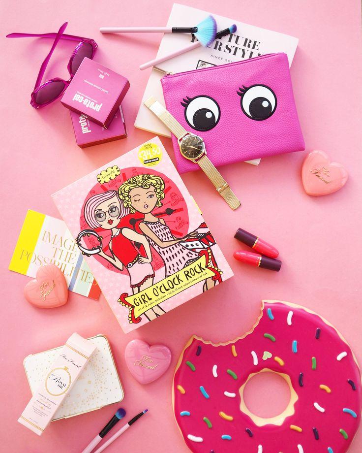 Pretty pink flatlay featuring the benefit cosmetics advent calendar