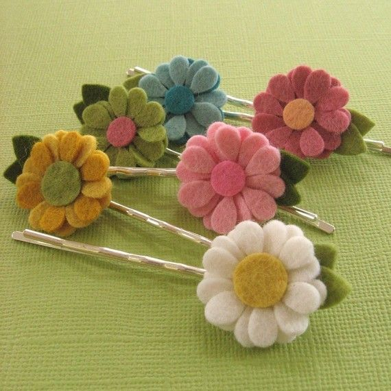 Mini Daisy Felt Flower Hair Pins or Clips You by PrettyinPosies,