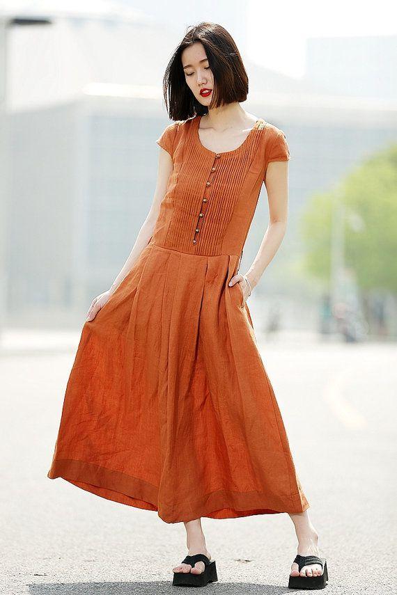 Linen Dress with Belt in Orange C346 por YL1dress en Etsy
