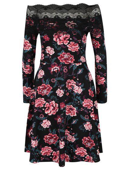 Čierne kvetované šaty s odhalenými ramenami a čipkovanými detailmi Dorothy Perkins