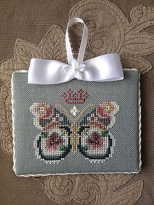 Finished-Completed-Cross-Stitch-Ornament-Just-Nan-Royal-Butterfly