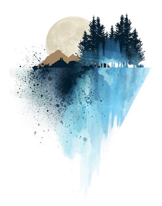 Affiche de montagne en aquarelle, décor maison, décor murale, décor chambre, peinture, nature, montagne, bleu, moderne, contemporain Je suis artiste Canadienne, et toutes les illustrations ont été crées dans mon studio par moi même. Elles sont imprimées sur du papier archivale, cartonnée de qualité supérieure.  Aucun cadrage dinclut.