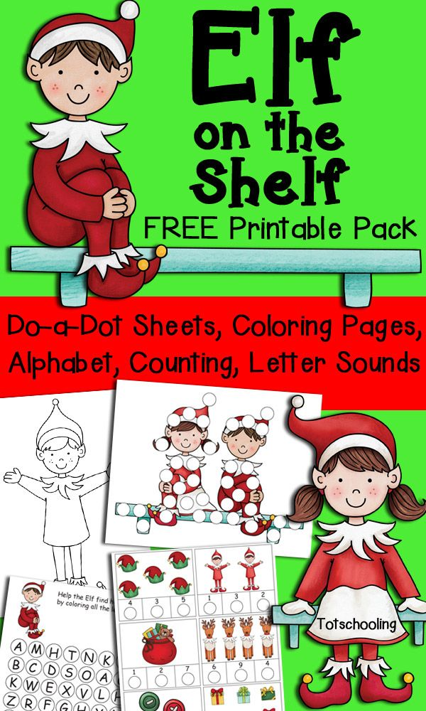 FREE Elf on the Shelf pack for toddlers, preschool and kindergarten featuring dot marker sheets, coloring pages, alphabet practice, letter sounds, counting and numbers. A fun set of Christmas worksheets.
