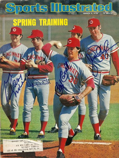 Spring Training / Sports Illustrated / March 3, 1975 - signed by Gary Nolan, Don Gullett, Clay Carroll, and Jack Billingham.