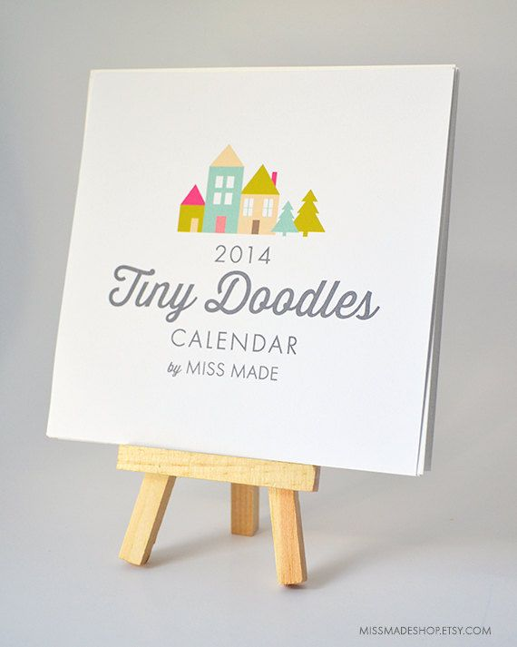 2014 Calendar Wall or Desk Calendar 12 Month by MissMadeShop