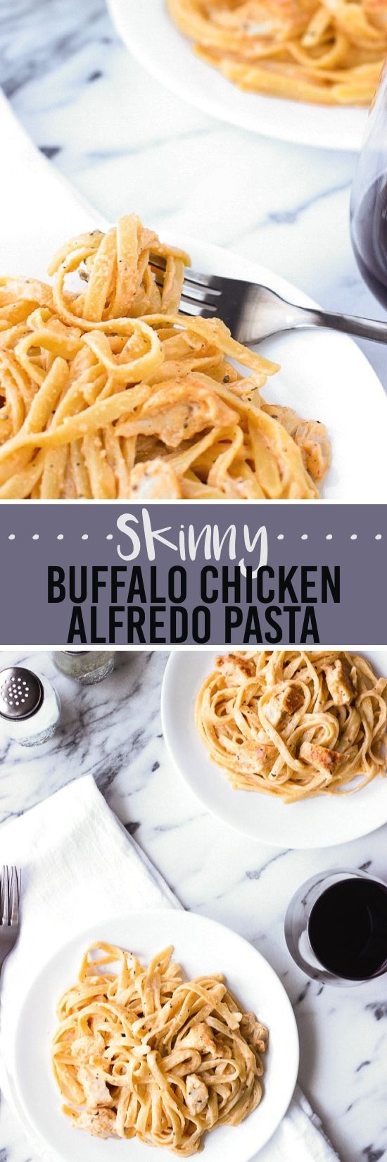 This skinny buffalo chicken alfredo pasta is seriously lightened up but creamy with a ton of flavor. No butter or cream in this slightly spicy and healthier pasta dish.