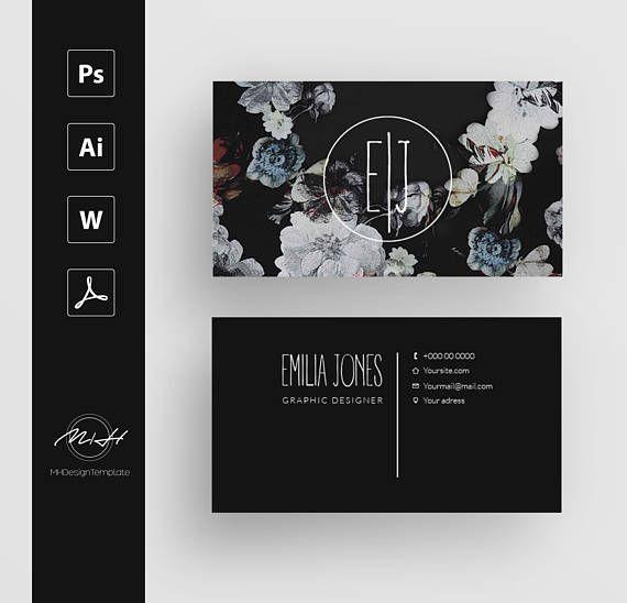 20 Sale Off Black Floral Business Card Template Creative Businesscards Floral Business Cards Graphic Design Business Card Business Card Design