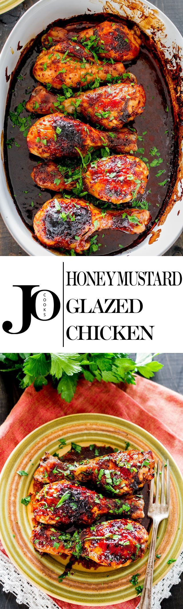 Honey Mustard Glazed Chicken – a simple recipe for chicken baked to perfection with a honey, mustard and soy sauce glaze.