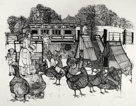 FEEDING THE HENS by CHARLES KEEPING