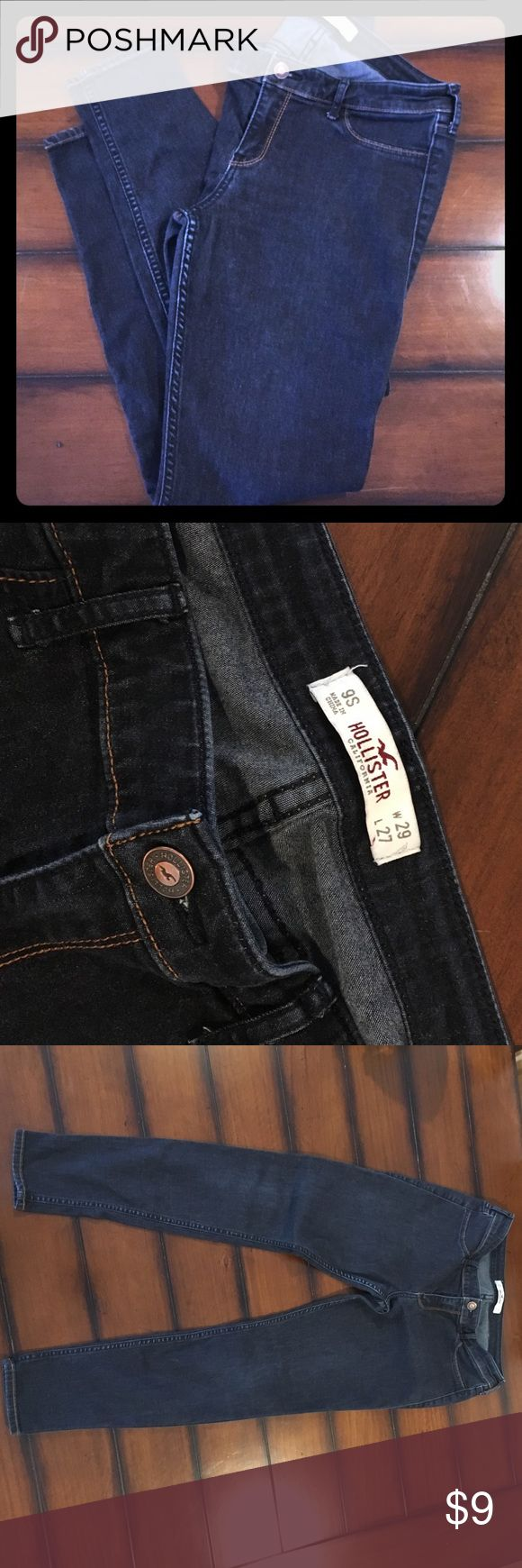 "Hollister Skinny Jeans Dark wash skinny stretchy jeans (jeggings), size 9S. 29"" waist & 27"" inseam. So cute cuffed with boots!! Worn postpartum several times but still in GUC! No rips, stains or tears. Hollister Jeans Skinny"