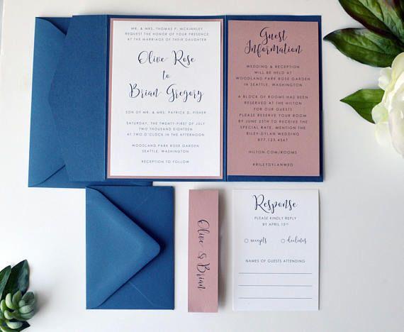 Navy Wedding Invitation Dusty Pink Wedding Invitation