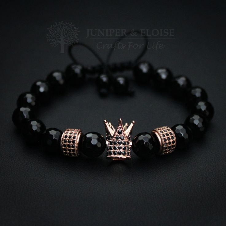 Crown Bracelet Gift For Her, Womens Crown Jewelry, Gift Ideas, Royal Crown, Bracelet Gift, Onyx bracelet, Karkötő, ブレスレット , Rannekoru by JuniperandEloise on Etsy