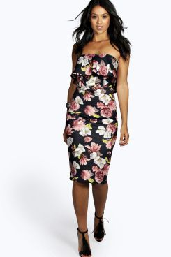 Seline Bandeau Floral Detail Bodycon Dress at boohoo.com