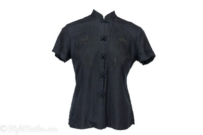LUCKY BRAND Black Linen Embroidered Short Sleeve Blouse Size M at http://stylemaiden.com