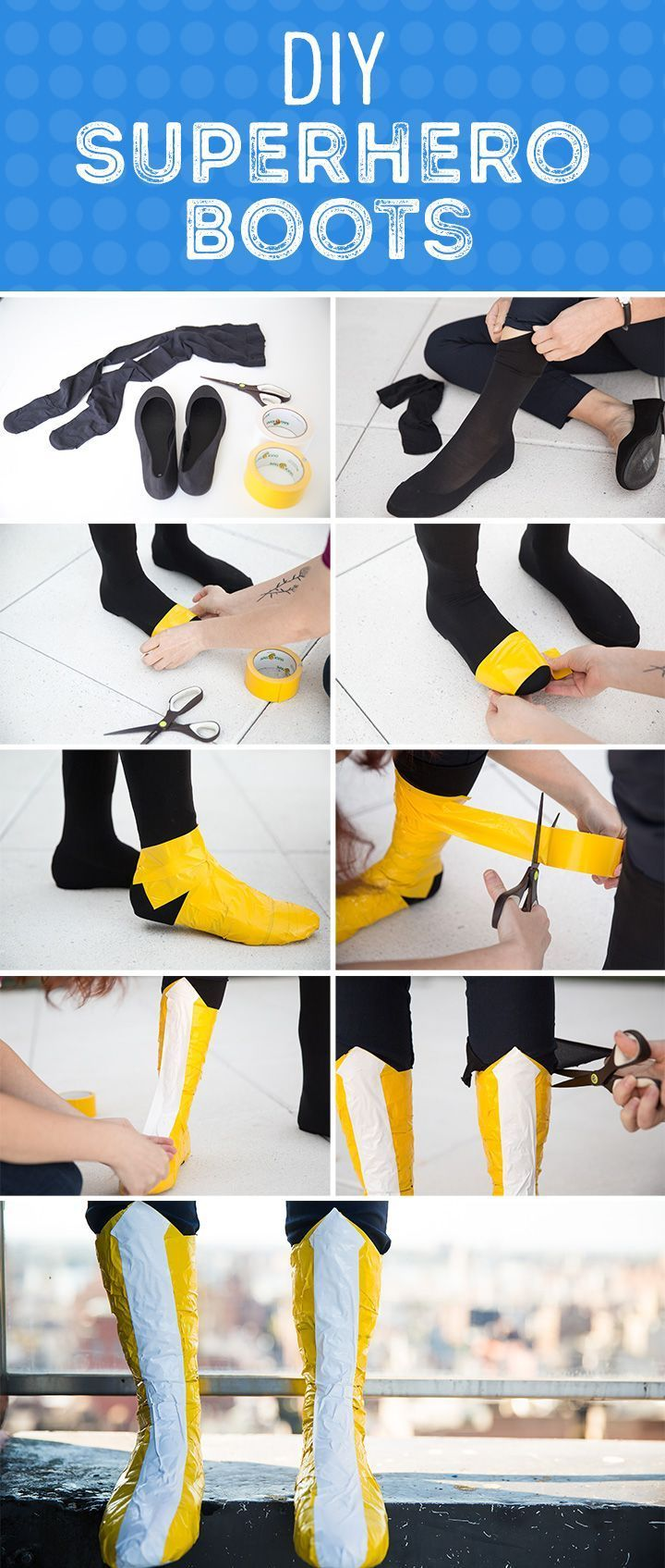 How to make superhero boots for Halloween, no sewing required