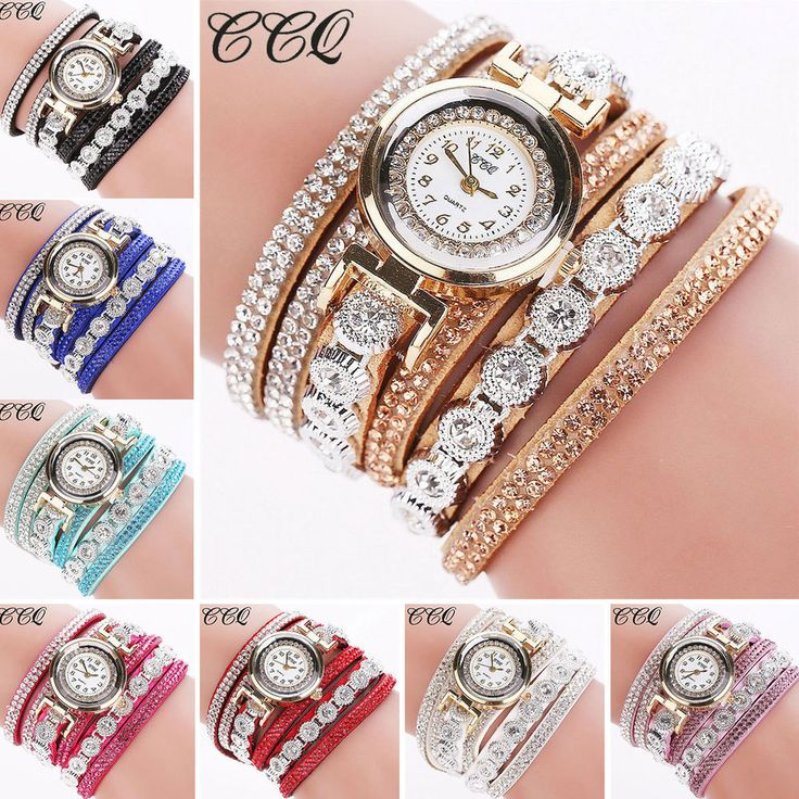 Fashion Women Vintage Rhinestone Crystal Bracelet Dial Analog Quartz Wrist Watch #Unbranded
