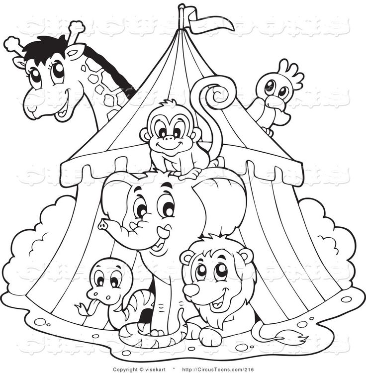 tent clipart black and white. circus clipart of a black and white big top tent animals by visekart c