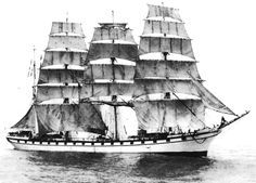 "Four-masted barque ""Caroline"",1891 - One of the huge french sailing ships fleet of the Bordes shipowners."