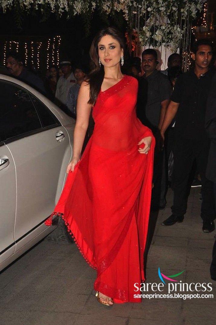 Karina Kapoor in #Red Hot transparent Saree !!