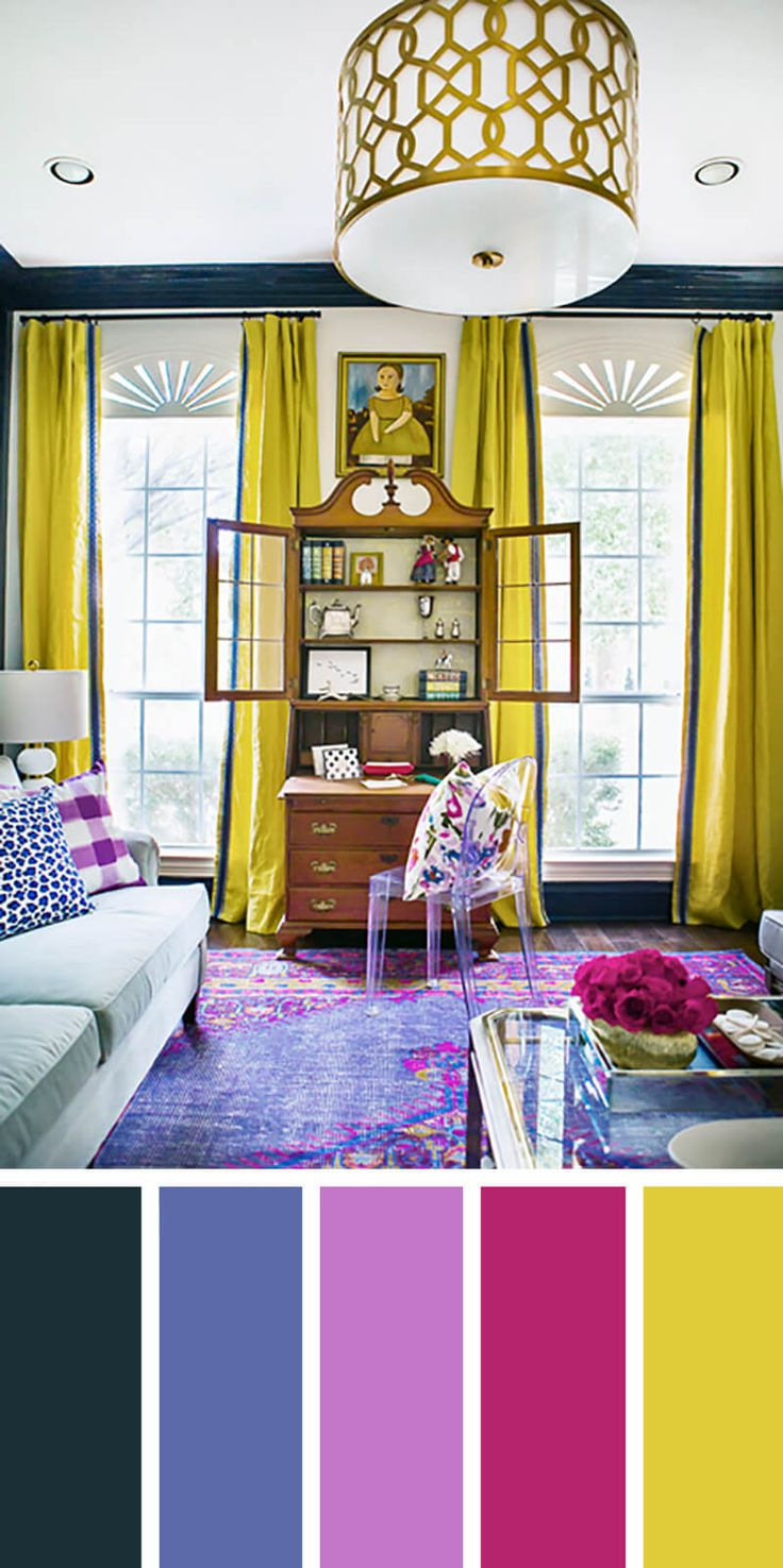 Love the bold colors - note that the walls are white, but thedrapes are bold and long and the crown molding is boldly colored - LOVE!
