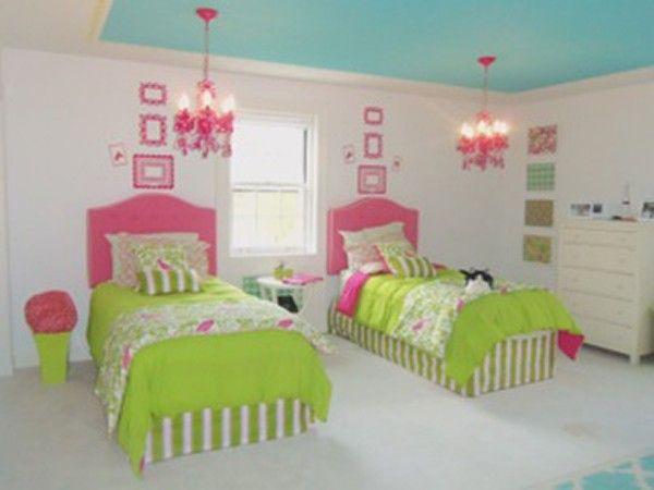 Aqua ceiling hot pink chandeliers neon green floor lenth for Kids room mirror