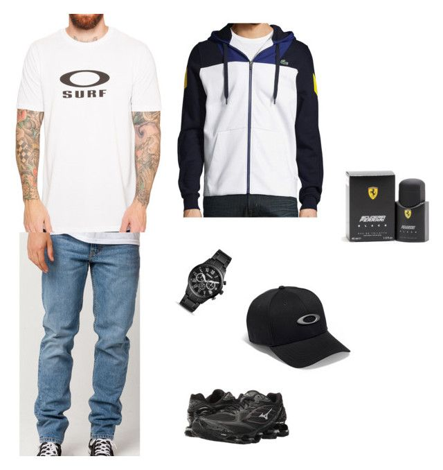 """""""Sem título #215"""" by alicesstyle ❤ liked on Polyvore featuring Levi's, Oakley, Mizuno, FOSSIL, Lacoste, Ferrari, men's fashion and menswear"""