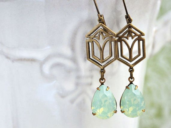 CALLA LILY art Deco style antiqued brass earrings with opal color pear shaped jewels by Swarovski