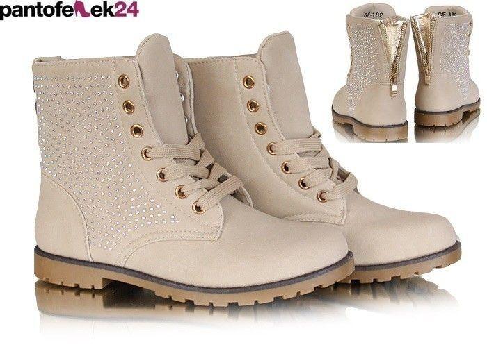 Botki w kolorze beżowym ze złotymi elemntami / Beige boots with gold elements / 39,90 PLN #beige #boots #botki #shoes #obuwie