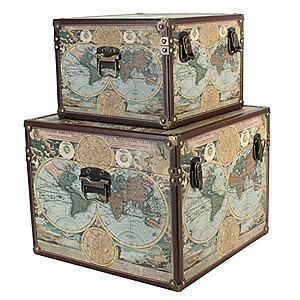 Set of 2 World Map Storage Trunks #Kaleidoscope #Travel #WorldMap #Interior