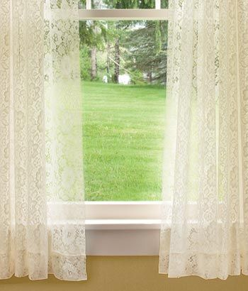 Country Floral Lace Tier Curtains 120 Wide And 36 Long 5550