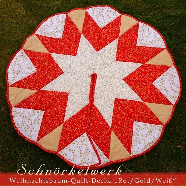 """Quilt Weihnachtsbaum-Decke """"Rot/Gold/Weiss"""" von Lealani / Schnörkelwerk auf DaWanda.com"""