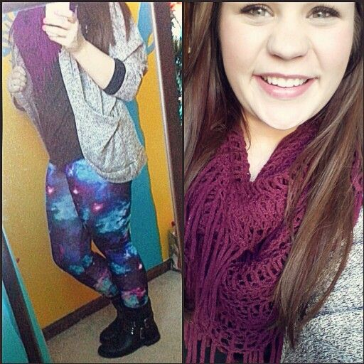 My galaxy leggings outfit(: