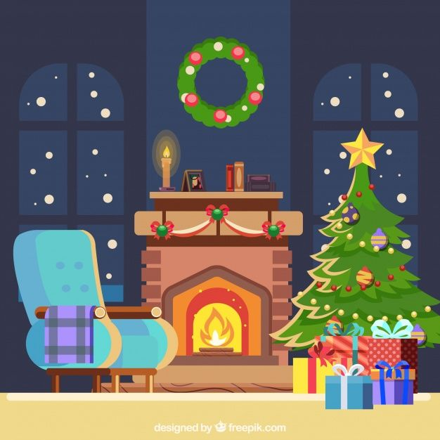Scarica Gratis Sfondo Di Natale Con Camino In Design Piatto Christmas Art Projects Christmas Background Christmas Clipart Free