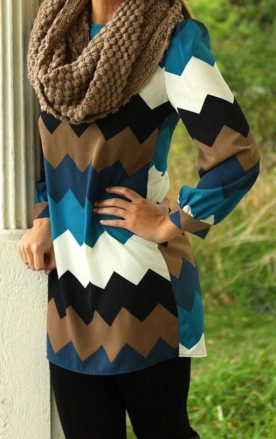 Chevron Blouse With Leggings and Brown Infinity Scarf
