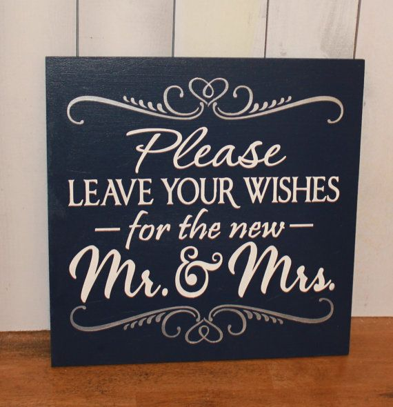 Guest Book/Please Leave Your Wishes For the New MR and MRS/Wedding Sign/Photo Prop/U Pick Color/Great Shower Gift/Vineyard/Navy/Silver
