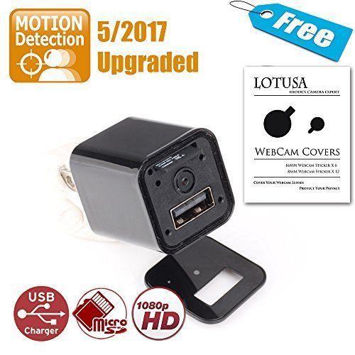 nice Spy Camera | 2017 S-Ext Edition | Motion Detection upgraded | LOTUSA 1080P HD USB Wall Charger Hidden Spy Camera/ Nanny Spy Camera Adapter | External Memory |
