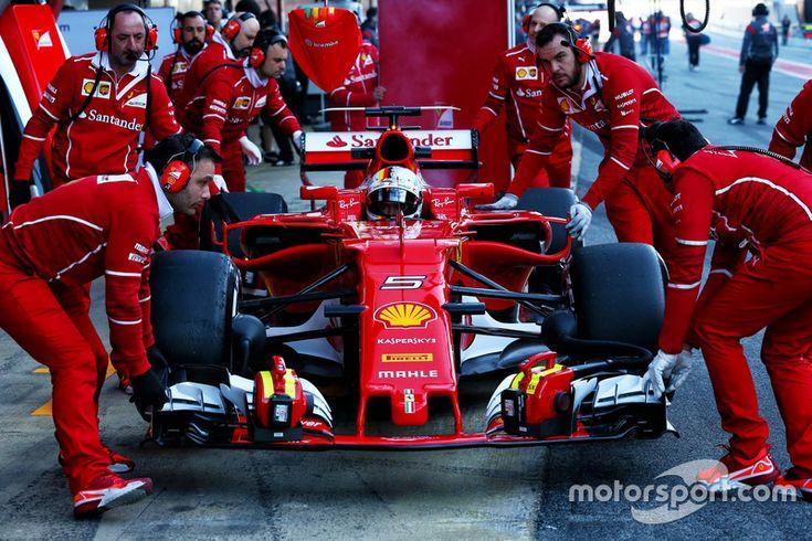 Sebastian Vettel, Ferrari SF70H in the pits
