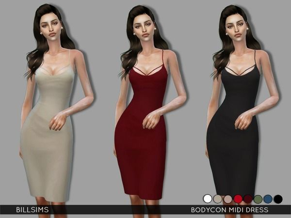The Sims Resource: Bodycon Midi Dress by Bill Sims • Sims 4 Downloads