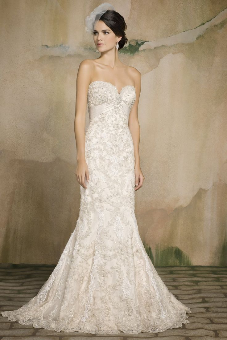 Style *123 ALOISA » Wedding Dresses » Pearl Couture Collection » Pearl Bridals » Available Colours : Ivory/Champagne, Ivory/Silver, White/Silver (Shown Metallic & Venetian Lace Gown with heavy Crystal Beading embellishments at bodice. Also Empire waist with Satin V band under bust)