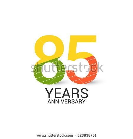85 Years Anniversary Colorful and Simple Design Style. Logo Celebration Isolated on White Background