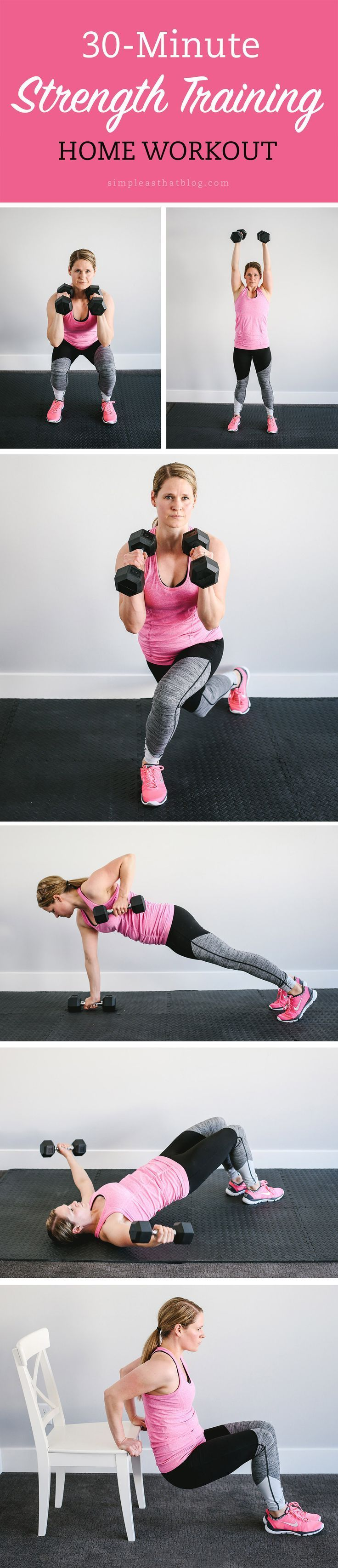 Interested in STRENGTH TRAINING at home but unsure where to start? Check out A Beginners Guide to Strength Training at Home for 5 tips on safe, effective weight training and a 30-minute total body workout you can do TODAY!