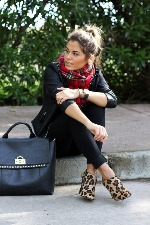 Love all black with the red plaid scarf and leopard print booties!