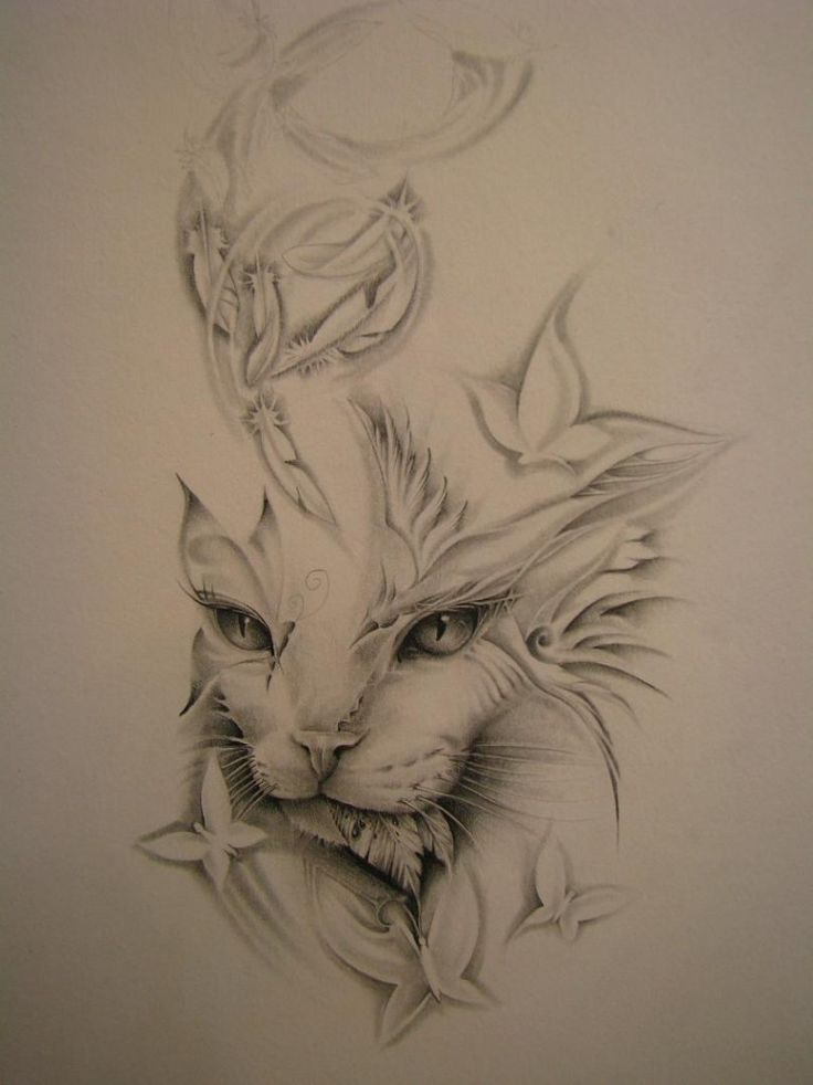 Cat Tattoo. This would be great for a remembered beloved cat with the name.