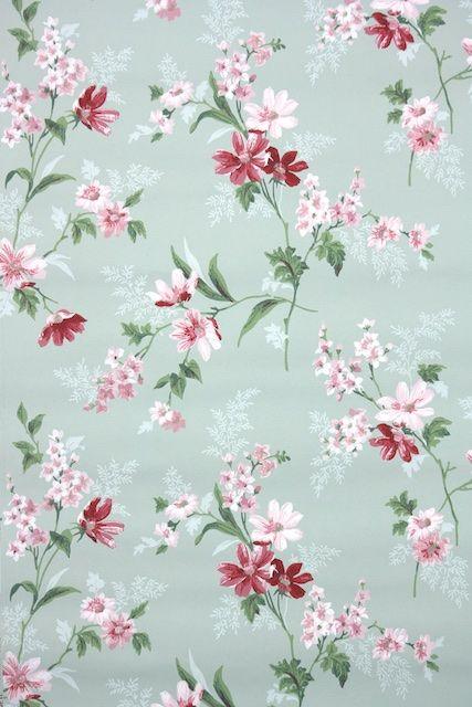 1950s floral vintage wallpaper in 2018 vintage wallpapers