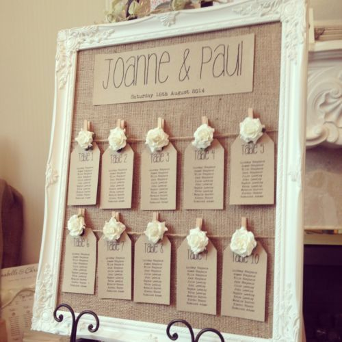 Wedding Seating Chart | Rustic/Antique Framed Vintage/Shabby Chic Wedding Table Seating Plan | #WeddingSeatingChart
